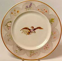 The Lyndon Johnson state china service features American wild flowers and was manufactured in the United States by Castleton China. It was selected by First Lady Lady Bird Johnson.