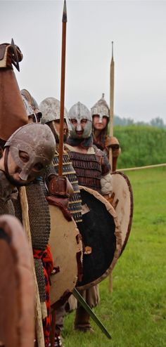 Vikings are prepared to fight against their enemies (maybe in the Battle of Hastings in 1066)
