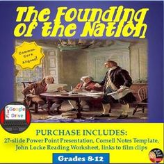 """This 27-slide Power Point Lecture Presentation reviews the major ideas in the """"Founding of the Nation"""". Reviews the important Enlightenment ideas and philosophers that inspired the American Revolution as well as the reasons why the colonists revolted against Great Britain. Creative Teaching, Teaching Science, Social Science, Study History, Us History, American History, Teaching Strategies, Teaching Resources, Reading"""