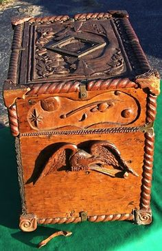 Beautiful Carved Wood And Brass.   Love the carved eagle handles.