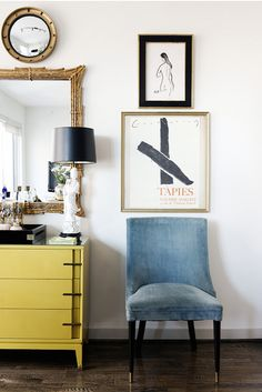lusting over this chair with steel blue velvet + tapered cone shaped legs, married with metal sabot detailing