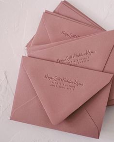 Swooning over this dusty pink collection of GORGEOUS enevelopes, featuring tonal letterpress. Created by the lovely Lauren Saylor Beach Wedding Invitations, Wedding Invitation Wording, Wedding Stationary, Party Invitations, Wedding Envelopes, Wedding Cards, Wedding Events, Weddings, Decor Wedding