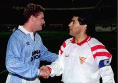 Gascoigne and Maradona, 1992 (pre-season match F.C Sevilla - Lazio Iran Football, World Football, Football Drills, Best Football Players, English Legends, Ss Lazio, Diego Armando, Vintage Football Shirts, Retro Pictures