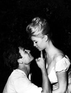 """""""I only lived when I arrived at the studio and It suspended me in jacques's blue eyes until the night, in his smooth voice, in the glow of his body who embraced me in scenes of affection. Jacques Charrier gentled myself sweetly, but safely."""" - Brigitte Bardot"""