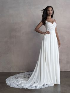 9087 by Allure Bridals combines a unique beaded bodice and stunning lace cutout train with a soft lux crepe A-line skirt Tulle Wedding, Bridal Wedding Dresses, Bridal Style, Bridesmaid Dresses, Backless Wedding, Vows Bridal, Spring, Embroidered Lace, Beaded Lace
