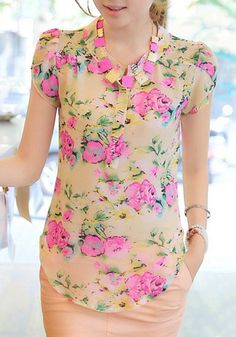 Graceful Short Sleeve Stand Collar Chiffon Floral Print Blouse For Women Casual Tops For Women, Blouses For Women, Floral Fashion, Fashion Dresses, How To Wear Shirt, Island Outfit, Fashion Terms, How To Make Clothes, Black Lace Tops