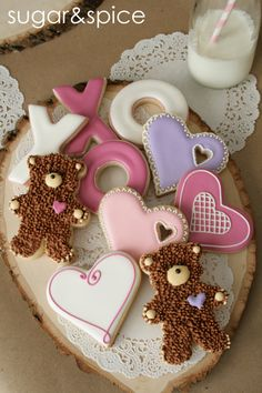 Valentine's Day cookies - bears, hearts, xoxo letters - one dozen rolled sugar cookies. $39.00, via Etsy.