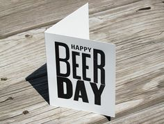 """Happy Beer Day"" Letterpress Card | offthebeatenpress.com"