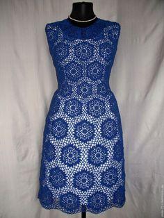 Купить Платье Васильковая феерия. - тёмно-синий, однотонный, крючком, Платье нарядное, платье на заказ