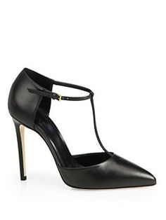 Gucci - Leather T-Strap Pumps