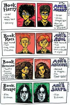 Funny pictures about Novel Harry Potter Vs Movie Harry Potter. Oh, and cool pics about Novel Harry Potter Vs Movie Harry Potter. Also, Novel Harry Potter Vs Movie Harry Potter photos. Mundo Harry Potter, Harry Potter Jokes, Harry Potter Characters, Harry Potter Fandom, Movie Characters, Fanart Harry Potter, Harry Potter Stories, Books Vs Movies, Movies Quotes