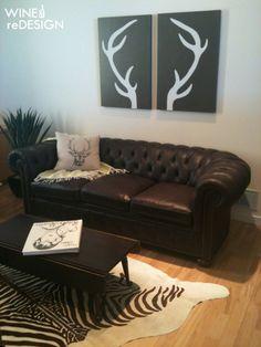 Deer Antler Art DIY-hang in living room gotta show this to Danessa!