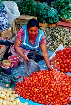 Tomatoes, potatoes, vegetables at Saturday Market (Mercado Abastos), Oaxaca, Oaxaca State, Mexico