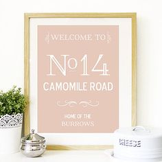 Personalised Street Address Family Name Print
