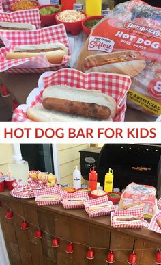 Making a DIY Hot Dog Bar for Kids is easy and fun! With a BBQ hot dog bar, everyone can customize their hot dog and top it with the ingredients they love. Hot Dog Bar, Hot Dogs, Canada Day Party, Birthday Bbq, Birthday Party Food For Kids, Birthday Ideas, Kids Party Themes, Party Ideas, Bbq Party Decorations