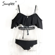 e2b008370d Simplee Off shoulder ruffle tassel bikini Sexy summer beach hollow out set  swimsuit Print padded bow