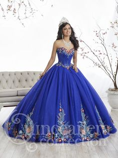 Tiffany Quinceanera 26869 Royal/Multi Sweetheart Floral Ball Gown
