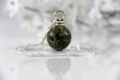 Real Moss Necklace Moss Globe Necklace Resin by JasmineThyme