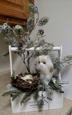 Something to last all winter. Owl, white Christmas decor