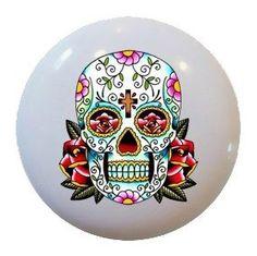 Amazon.com: Sugar Skull Flower Ceramic Knobs Pulls Kitchen Drawer Cabinet Vanity Closet 276: Home & Kitchen