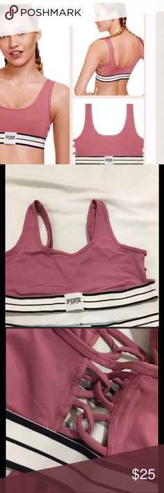 VS PINK Ultimate strappy side sport bra New in a shipping package. Size xs . VS PINK Ultimate strappy side sport bra in soft begonia color. Featured in the fashion show. PINK Victoria's Secret Intimates & Sleepwear Bras