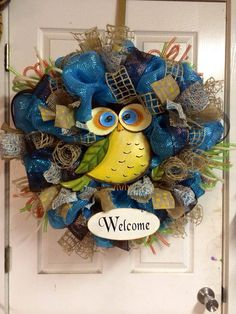 Owl Deco Mesh Wreath by HighMaintenanceDes on Etsy, $135.00