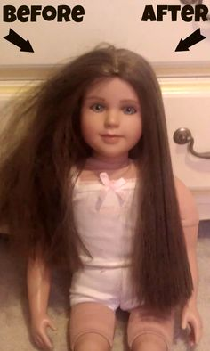 An easy fix for tangled doll hair - works wonders on those American Girl dolls! liquid fabric softner and water in a spray bottle or in a sink and dip dolls hair in it.