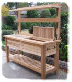Potting bench ideas potting table with sink how to make a potting table potting bench plans . Potting Bench With Sink, Outdoor Potting Bench, Pallet Potting Bench, Potting Tables, Planting Bench, Cedar Bench, Potting Station, Outdoor Sinks, Bench Designs