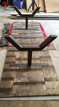 Custom Made Industrial Reclaimed Oak Butcher Block Table - Wood Works Welded Furniture, Steel Furniture, Woodworking Furniture, Industrial Furniture, Table Furniture, Luxury Furniture, Mesa Metal, Wood And Metal, Canto Bar