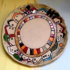 Ceramic plate Serving plate Holiday gift Hand made pottery Ceramic dish Ceramics and pottery Painted plate Rustic dish Wedding gift Pottery Painting, Ceramic Painting, Ceramic Art, Ceramic Plates, Ceramic Pottery, Pottery Art, Rustic Plates, Ceramic Workshop, Painted Plates