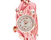 Olala, would fit in a boudoir Korean fashion! Pink Wrap Band Watch by LizaPaige/Etsy.com