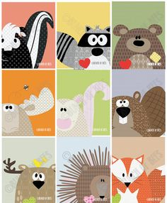 "Nursery / Kids Prints - Woodland Series of 9. Woodland animals ""Headshots""."