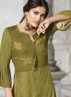 Online shopping for latest collection of designer kurtis and kurti. Buy this innovative digital print work green party wear kurti for festival and party. Printed Kurti Designs, Stylish Gown, Fancy Kurti, Kurti Collection, One Piece Outfit, All About Fashion, Summer Wear, Party Wear, Digital Prints