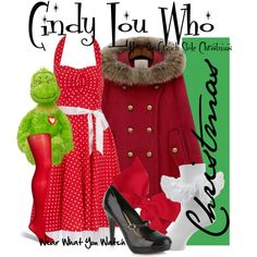 How the Grinch Stole Christmas by wearwhatyouwatch on Polyvore featuring Fever Fish, Fogal, Call it SPRING, mary jane pumps, polka dots, opaque tights, faux-fur collars, taylor momsen, capes and red hues