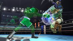 5/12/14•Wii U•Official•Here's wire frame Little Mac--re-envisioned from the original Punch-Out!! game. The man that actually drew the pixel art wire frame in the original was none other than Shigeru Miyamoto. He said he drew the pixels for the wire frame on graph paper.