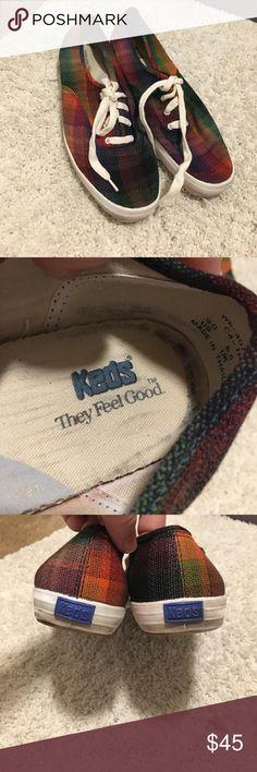 Vintage Rainbow Plaid Keds Super fun and cute plaid rainbow keds! Keds Shoes Athletic Shoes