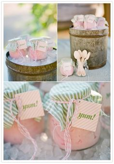 Mason jars with ice cream and wooden spoons for shabby chic baby shower. Love Love Love.