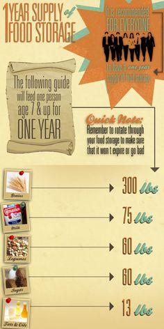 1 year food storage Infographic