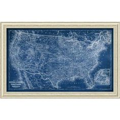Found it at joss main old world map framed graphic art art darby home co us map blueprint framed painting print sciox Gallery