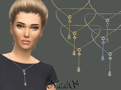 The Sims Resource: Circle and Crystals Drop Necklace by NataliS • Sims 4 Downloads