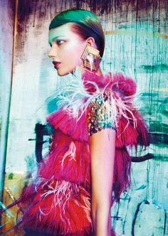 The AnnaRita N Editorial is an Edgy Outlook on Fall #feathers #fashion trendhunter.com