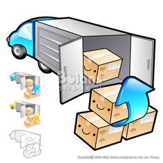 택배 간선상차 일러스트레이션. 상품과 유통 시스템 디자인 시리즈. (BCDS011658) Delivery Item pickup truck Illustration. Product and Distribution System Design Series. Copyrightⓒ2000-2014 Boians.com designed by Cho Joo Young.