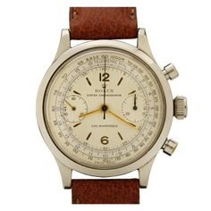Rolex Stainless Steel Monobloc Chronograph Wristwatch Ref 3525, ca.1940's | From a unique collection of vintage wrist watches at http://www.1stdibs.com/jewelry/watches/wrist-watches/
