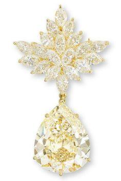 An Important Coloured Diamond and Diamond Brooch/Pendant