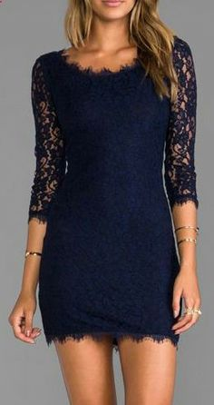 Navy lace long sleeve dress