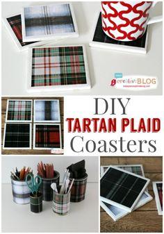 DIY Tile Coasters with Tartan Plaid | TodaysCreativeblog.net