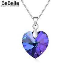 BeBella classic heart pendant necklace made with Swarovski Elements thin box chain for 2016 women Mother's Day gift //Price: $16.98 & FREE Shipping //     #womanworld