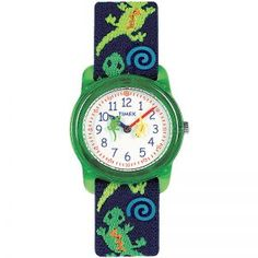 The Timex Kids Children T72881 Easy to Read Kidz Time Teacher Geckos Watch has an easy-to-read dial with minutes marked for learning.  FUN rotating graphics act as the second hand for learning to tell time.  The elastic fabric strap is adjustable as well as washable.  This watch has a buckle for doing the watch up.