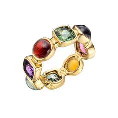 """Estate Seaman Schepps """"50's"""" Multicolored Gemstone Band Ring"""
