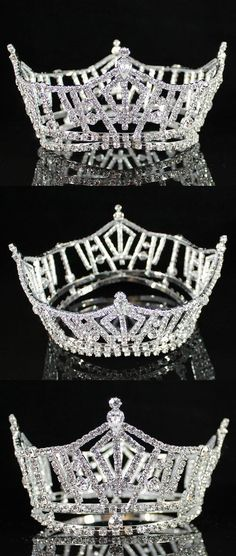 Hair and Head Jewelry 110620: Miss America Full Crown Austrian Rhinestone Tiara Pageant Silver T1297 BUY IT NOW ONLY: $33.99